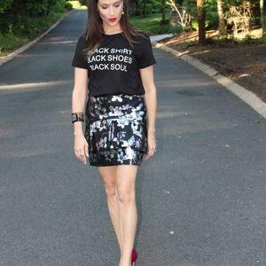 faux Leather floral print Mini skirt